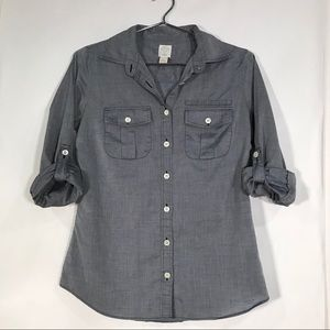 J. Crew The Perfect Shirt, Roll-Tab Sleeves Size 2